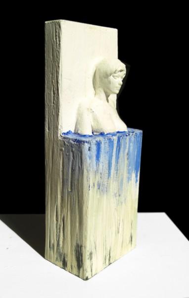 Moderne Holzskulptur BLUE DIVA